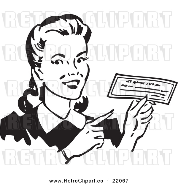 Vector Clipart of a Retro Woman Holding a Check