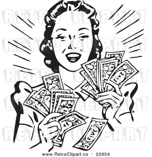 : Vector Clipart of a Retro Woman Holding Handfulls of Cash