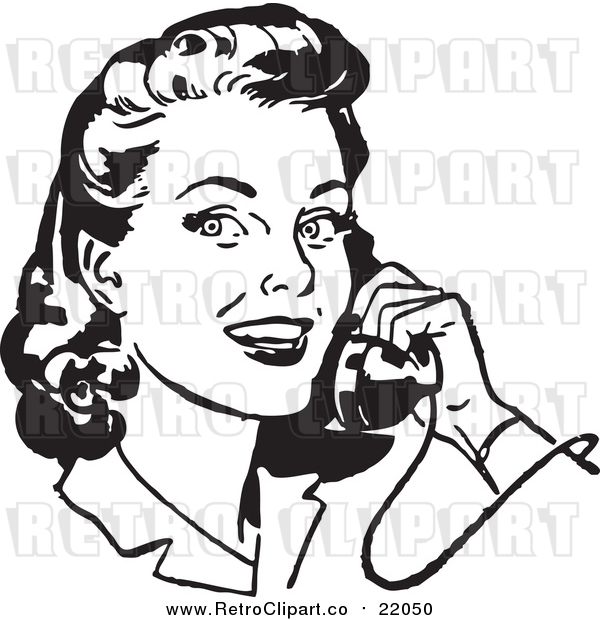 Vector Clipart of a Retro Woman Smiling and Chatting on a Phone