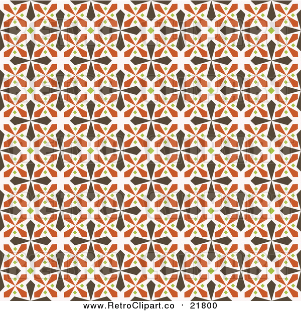 Vector Clipart of a Seamless Background of Brown, Green and Orange Kaleidoscope Crosses