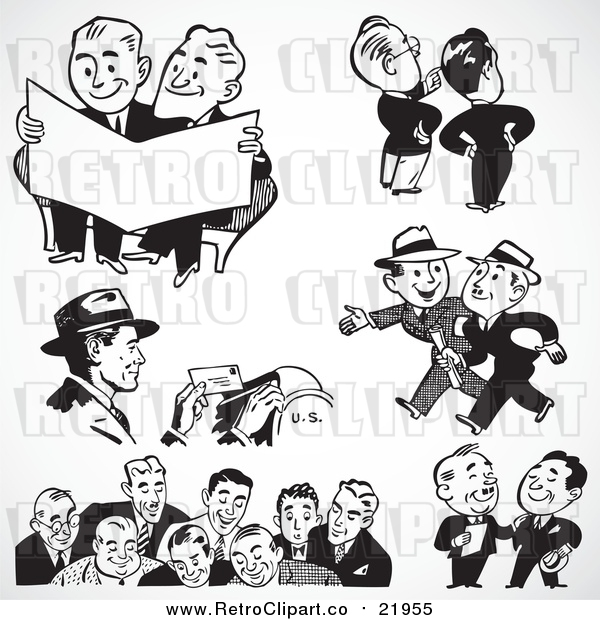 Vector Clipart of Black and White Retro Mail Man and Business Men