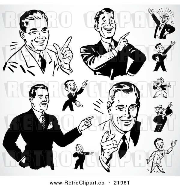 Vector Clipart of Black and White Retro Pointing Businessmen