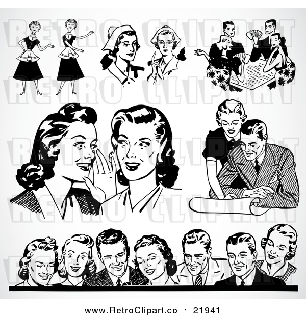 : Vector Clipart of Different Scenes of Retro People