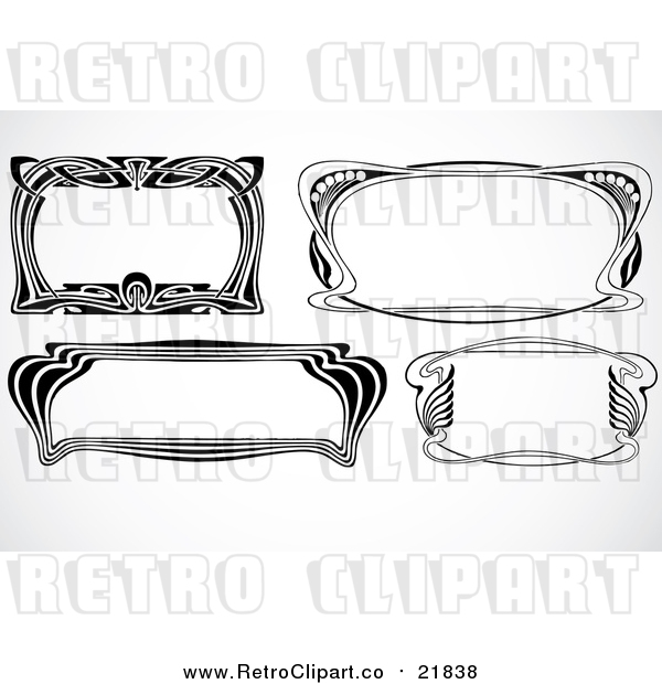 Vector Clipart of Retro Black and White Art Deco Styled Borders