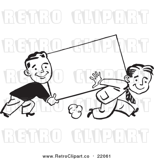 : Vector Clipart of Retro Black and White Business Men Carrying a Blank Sign