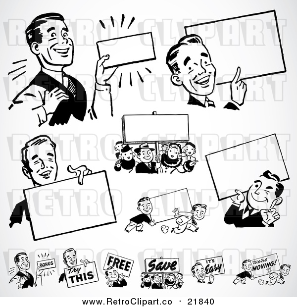 : Vector Clipart of Retro Black and White Businessmen with Blank Signs