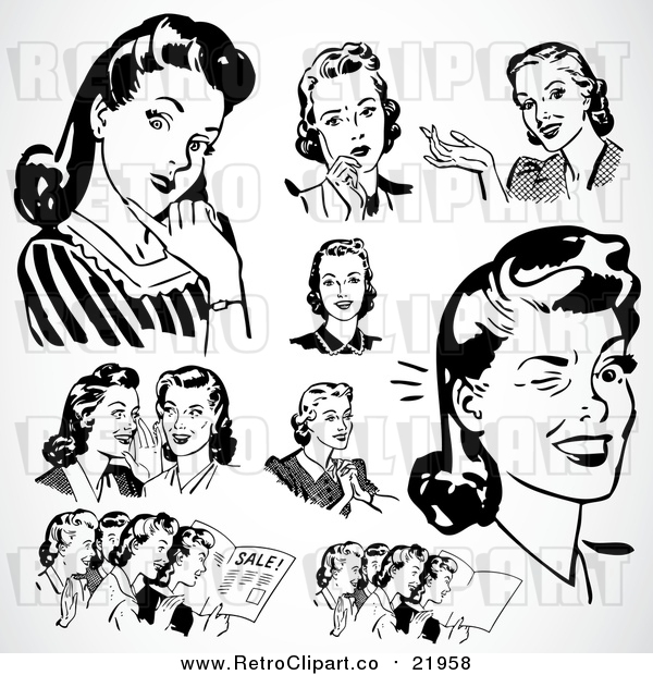 Vector Clipart of Retro Black and White Ladies Thinking and Talking