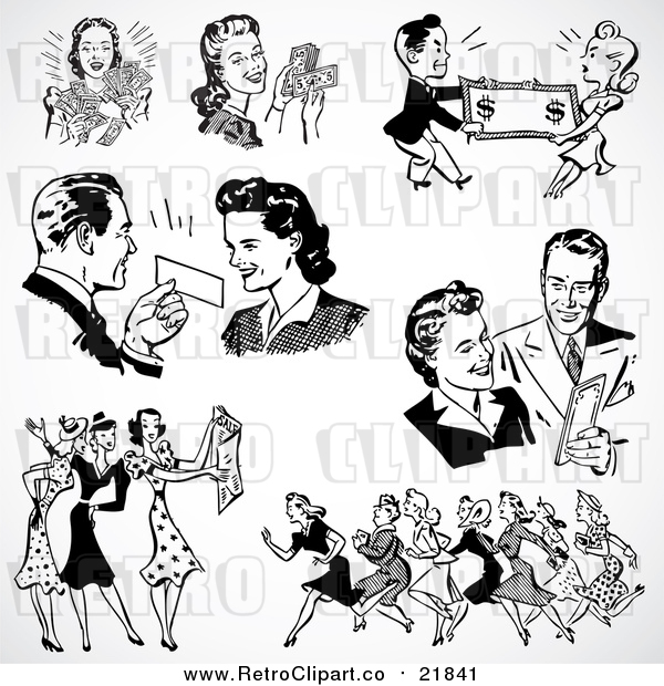 Vector Clipart of Retro Black and White Men and Women Shopping