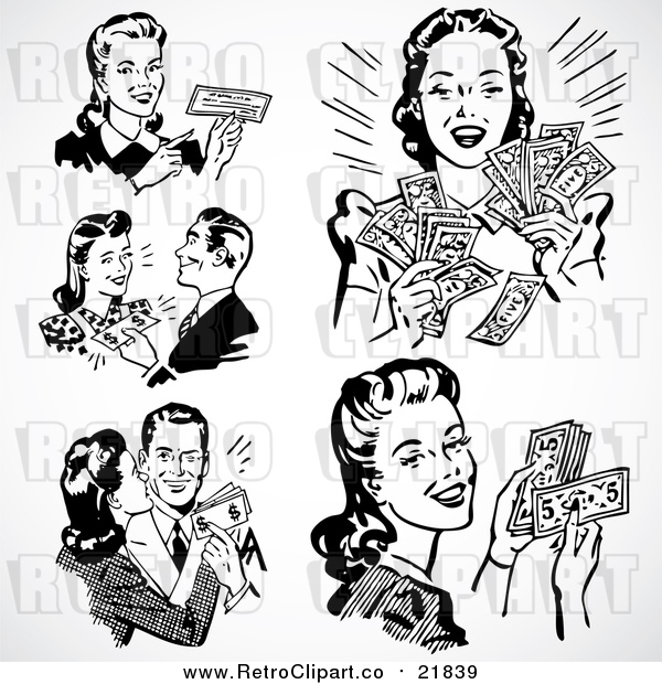 Vector Clipart of Retro Black and White Men and Women with Cash and a Check