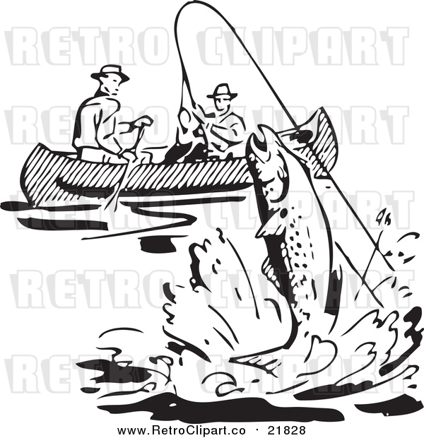 Vector Clipart of Retro Black and White Men Fishing