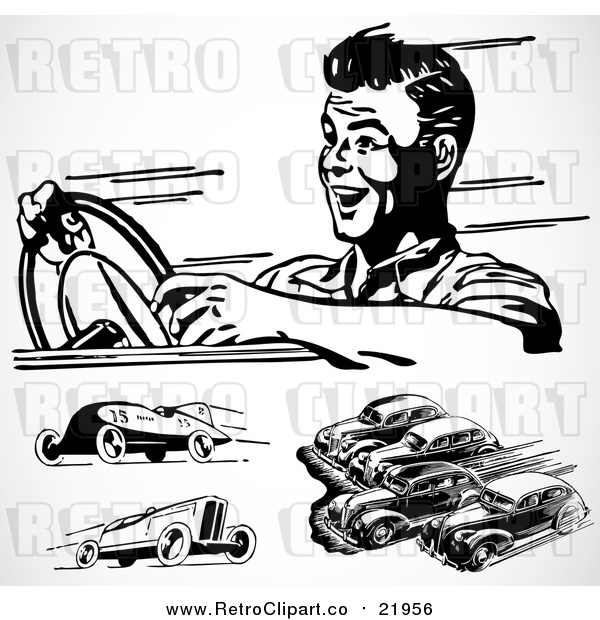 Vector Clipart of Retro Black and White Racing Cars