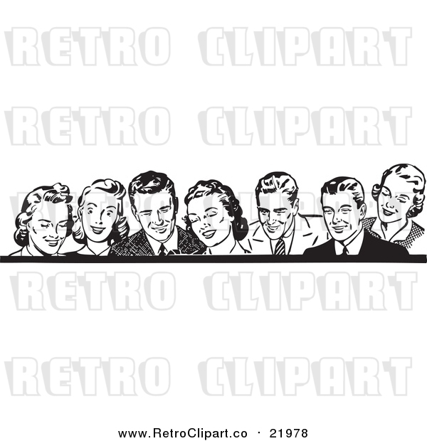 Vector Clipart of Retro Men and Women in Black and White