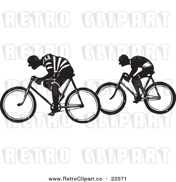 Vector Clipart of Retro Men Riding Bicycles