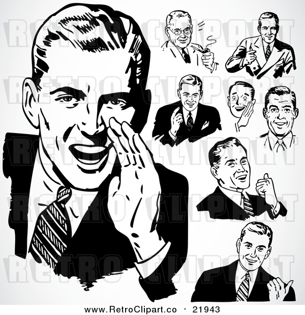 Vector Clipart of Retro People Talking Businessmen