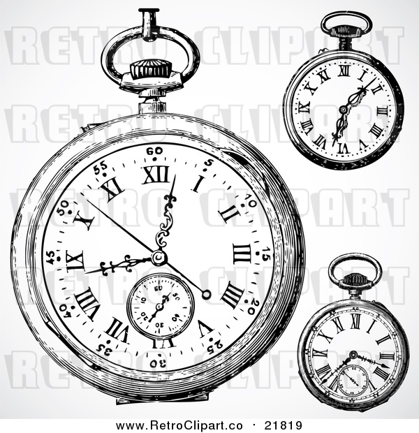 Vector Clipart of Retro Pocket Watches