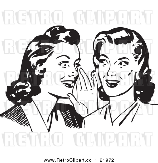 Vector Clipart of Two Gossiping Retro Ladies