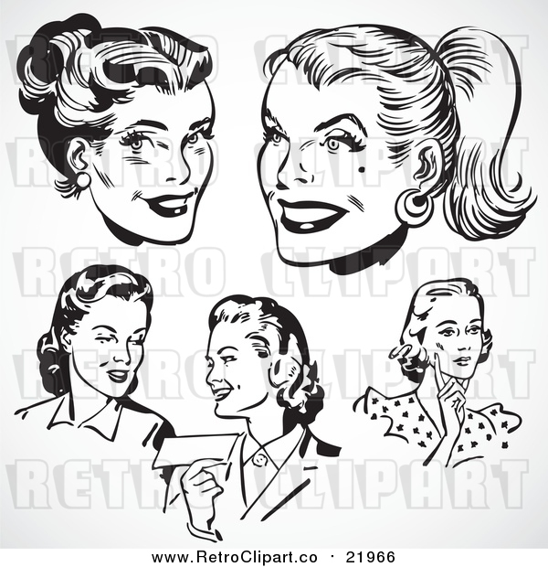 Vector Clipart Retro Black and White Female Faces