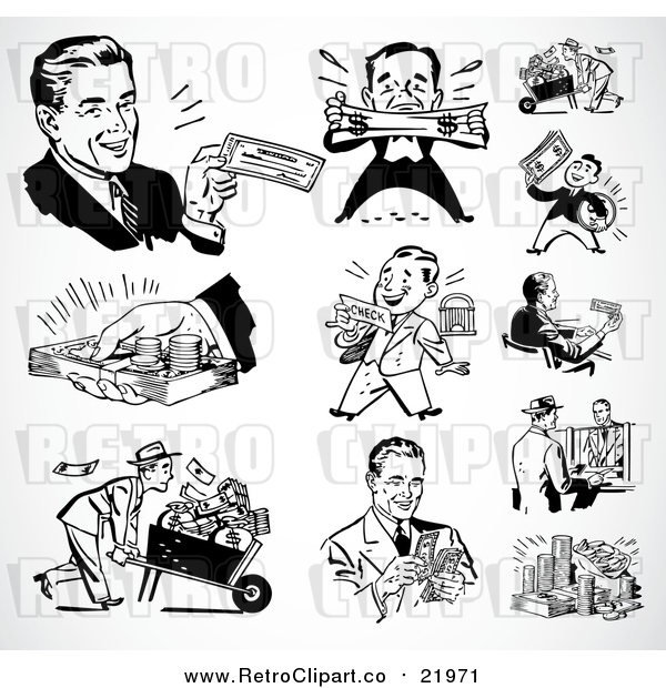 Vector Clipart Retro Black and White Wealthy Businessmen