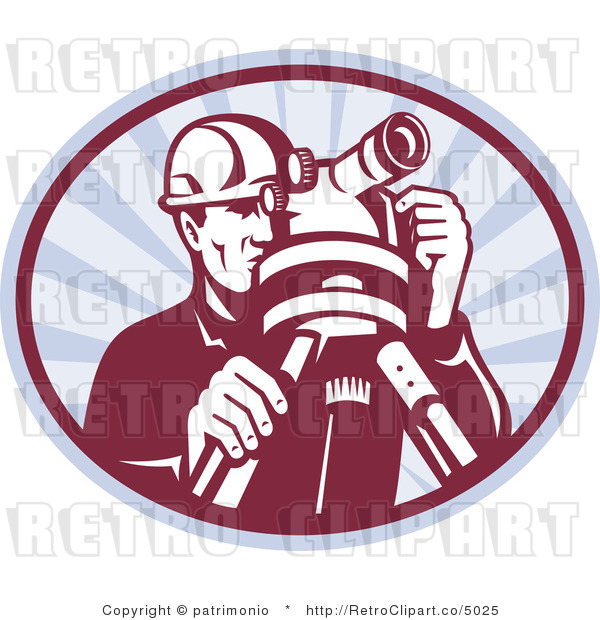 Vector Retro Clipart of a Man Surveying with a Theodolite