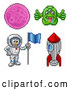 Clip Art of Retro 8 Bit Pixel Art Video Game Styled Astronaut, Rocket, Alien and Planet by AtStockIllustration