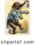 Clip Art of Retro Circus Elephant Standing up and Holding a Hat by Prawny Vintage