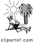 Clipart of a Happy Retro Man Sun Bathing at a Tropical Beach by BestVector