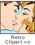 Retro Pop Art Couple Kissing Softly Royalty Free Vector Clipart by Brushingup