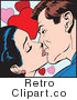 Retro Pop Art Couple Kissing with Hearts Royalty Free Vector Clipart by Brushingup