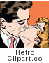 Retro Pop Art Couple Smooching over Orange Royalty Free Vector Clipart by Brushingup