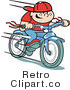 Retro Royalty Free Fast Boy Riding a Bike Vector Clipart by Andy Nortnik