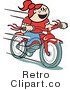 Retro Royalty Free Girl Riding a Bicycle Vector Clipart by Andy Nortnik