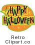 Retro Royalty Free Happy Halloween Sign Vector Clipart by Andy Nortnik