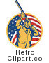 Royalty Free Retro American Hunter with American Flag Background by Patrimonio