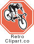 Royalty Free Retro Bicyclist on a Stop Sign Octagon by Patrimonio