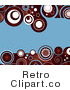 Royalty Free Retro Blue Background with Deep Red White and Blue Circle Patterns Along the Top and Bottom Edges by KJ Pargeter