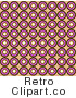 Royalty Free Retro Brown Pink and White Circles in Rows by KJ Pargeter