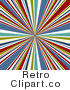 Royalty Free Retro Bursting White Green Yellow Blue and Red Lines Emerging from the Center by KJ Pargeter