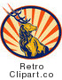Royalty Free Retro Deer Stag on Orange Ray Background by Patrimonio