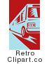 Royalty Free Retro Funky Blue and Red Public Bus by Patrimonio