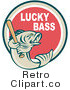 Royalty Free Retro Lucky Bass Text Around a Fish Holding a Baseball Bat over a Red Circle by Patrimonio