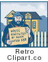 Royalty Free Retro Man Holding a House Foreclosed by Bank Need Money Sign by Patrimonio