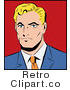 Royalty Free Retro Pop Art Blond Businessman over a Red Background by Brushingup