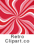 Royalty Free Retro Red Pink and White Swirls by KJ Pargeter