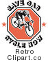 Royalty Free Retro Save Gas Cycle Now Text Around a Bicyclist on a Red Octogon with Starts on the Edge by Patrimonio