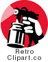 Royalty Free Retro Spray Container on a Red Circle by Patrimonio