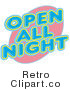 Royalty Free Retro Vector Clip Art of a Neon Open All Night Sign by Andy Nortnik