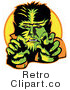 Royalty Free Retro Vector Clip Art of a Werewolf by Andy Nortnik