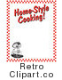 "Royalty Free Retro Vector Clip Art of an Electric Mixer and ""Home-Style Cooking!"" Text Composited on a White Background Bordered with Red Checkers by Andy Nortnik"