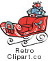 Royalty Free Retro Vector Clip Art of Santas Sleigh by Andy Nortnik