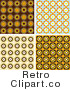 Royalty Free Retro Wallpaper Pattern Backgrounds of Orange Brown and Blue Circles by KJ Pargeter